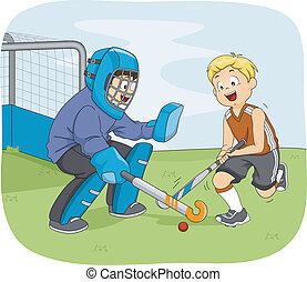 Field Hockey Boys - Illustration Featuring Little Boys...