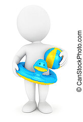 3d white people swim ring and ball - 3d white people with a...