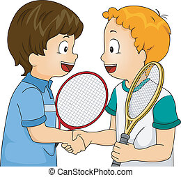 Sportsmanship Handshake - Illustration Featuring Young...