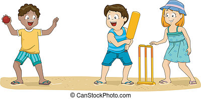 Cricket Kids - Illustration of a Group of Kids Playing...