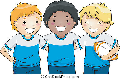 Rugby Players - Illustration Featuring a Group of Smiling...
