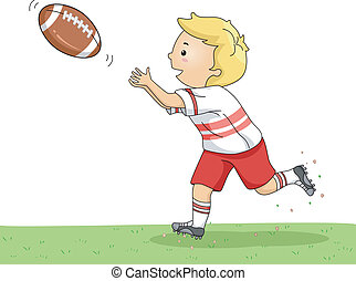 Football Catch - Illustration of a Little Boy Catching a...