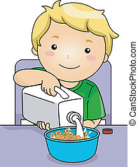 Boy Pouring Milk - Illustration Featuring a Boy Pouring Milk...