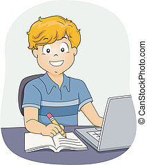 Boy Doing Homework - Illustration Featuring a Little Boy...