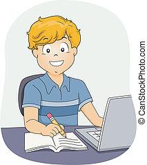 Boy Doing Homework - Illustration Featuring a Little Boy...