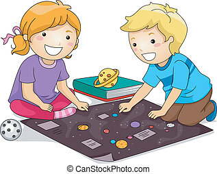 Kids Studying Planets - Illustration Featuring a Boy and a...