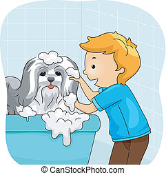 Dog Bath - Illustration of a Little Boy Giving His Dog a...