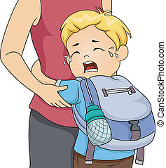 Separation Anxiety - Illustration of a Little Boy Crying Out...