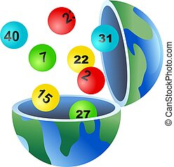 lotto globe - An open globe of the world with lottery balls...