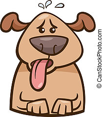 mood heat dog cartoon illustration - Cartoon Illustration of...
