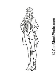 Monochromatic picture with lady in autumn clothes - Standing...