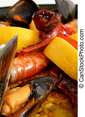 Paella - Traditional spanish rice with mussels, prawn and...