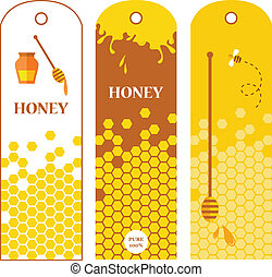 Set of honey labels, badges and design elements . vector...