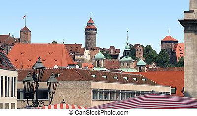 Nuremberg - aerial view of Nuremberg in Bavaria (Middle...