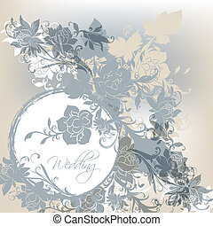 Blue wedding card - Vector hand drawn wedding invitation...