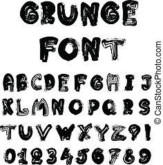 English alphabet in grunge style - coal imitation