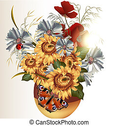 Clear background with field flowers - Vector cute flowers in...