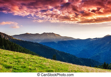 magic mountain landscape - Mountains glow by sunlight...