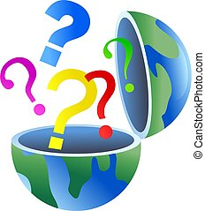 question globe - An open globe of the world with question...