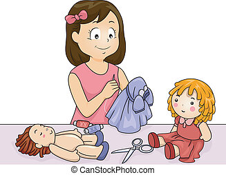 Doll Clothes - Illustration of a Girl Sewing Clothes for Her...