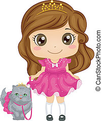 Persian Cat Girl - Illustration of a Cute Girl Dressed as a...