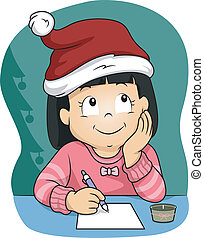 Christmas Wish List - Illustration of a Little Girl Wearing...