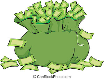 Money Bag - Illustration Featuring a Green Bag Overflowing...
