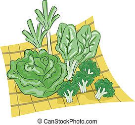 Green Vegetables - Illustration Featuring a Group of Green...