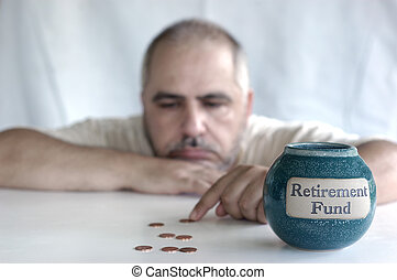 retirement fund bankrupt - depressed man counting pennies...