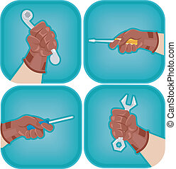 Tool Icons - Icon Illustration Featuring Cropped Hands...