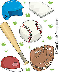 Baseball Items - Illustration Featuring Different Baseball...