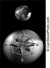 Compass Rose and world globe