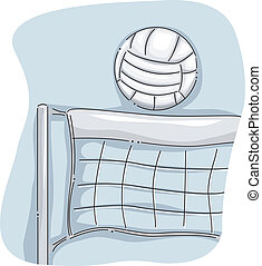 Volleyball Net - Illustration Featuring a Volleyball Perched...