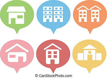 Building Icons - Illustration Featuring Various Building...