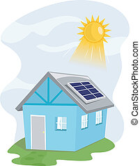 Solar House - Illustration Featuring a House Installed with...