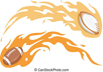 Rugby and Football Flame Design - Illustration Featuring a...