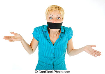 blond woman censored - censored blond woman mouth tied with...