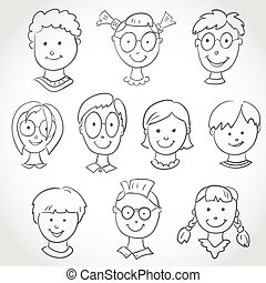 Kids Face Set Sketch