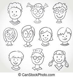 Kids Face Set Sketch