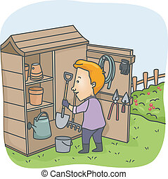 Garden Tool Shed - Illustration of a Man Putting Garden...