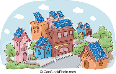 Solar Community - Illustration Featuring an Entire Community...