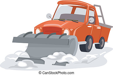 Snow Plow - Illustration Featuring a Snow Plow Plowing...