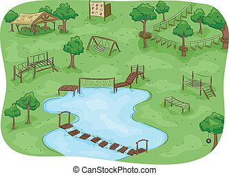 Obstacle Course Camp - Illustration Featuring a Camp with an...