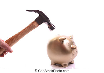 Robbing a piggybank - Hand with hammer reaching out voor a...