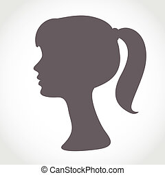 Girl face silhouette isolated on white. Simple abstract portrait