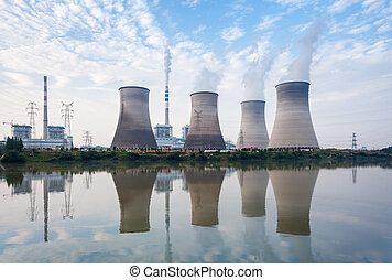 coal-fired power plant in afternoon - power plant, cooling...