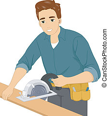 Circular Saw - Illustration of a Man Using a Circular Saw