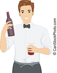 Male Waiter - Illustration of a Male Waiter Carrying a Wine...