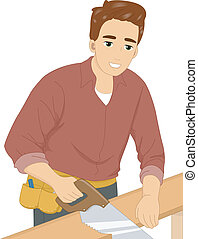Hand Saw Man - Illustration of a Man Cutting a Piece of Wood...