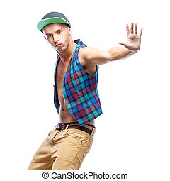 male hip-hop dancer - young caucasian male hip-hop dancer...